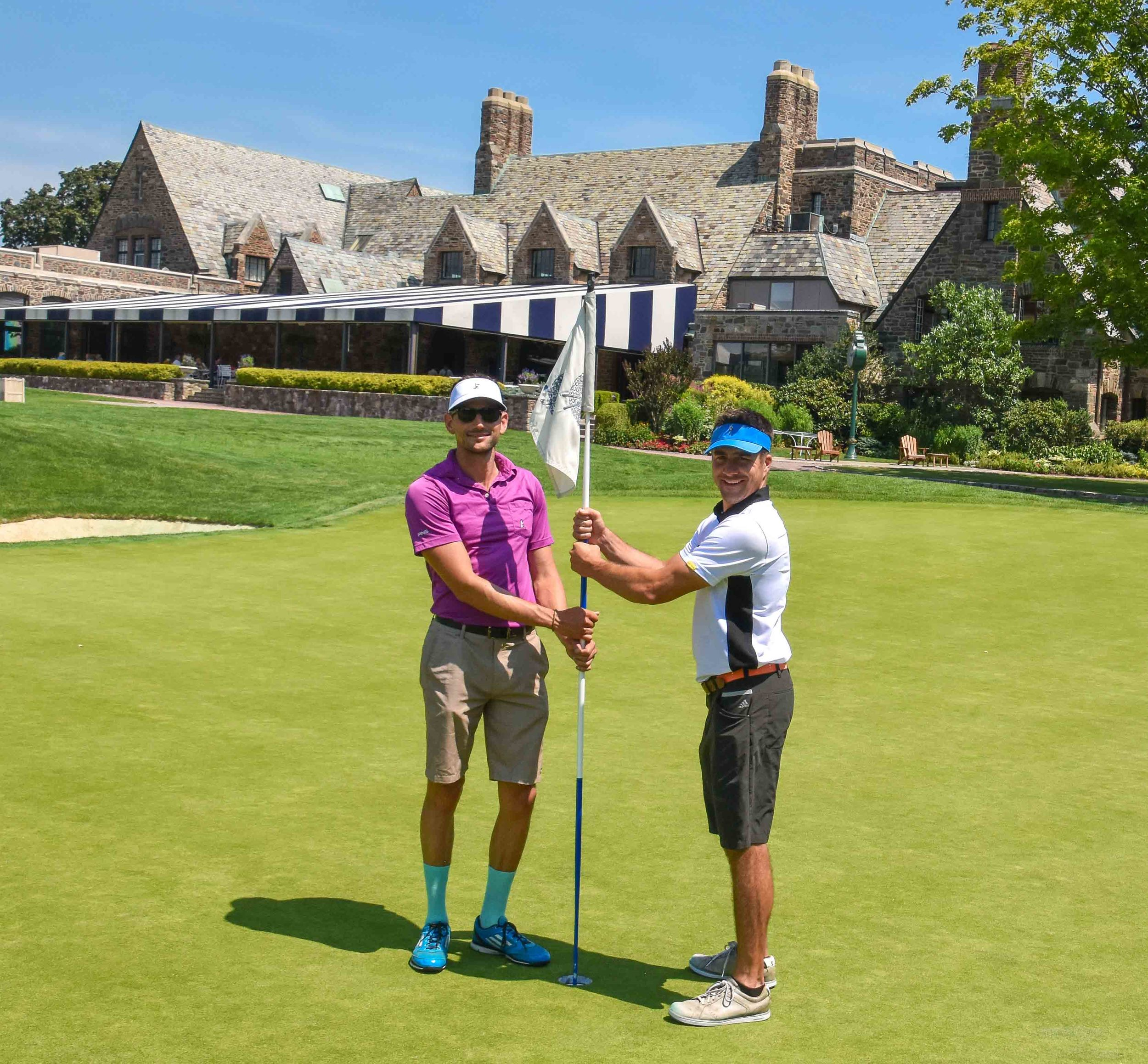 The proper way to pose on Winged Foot's finishing 18th.  Polo by  State Apparel.