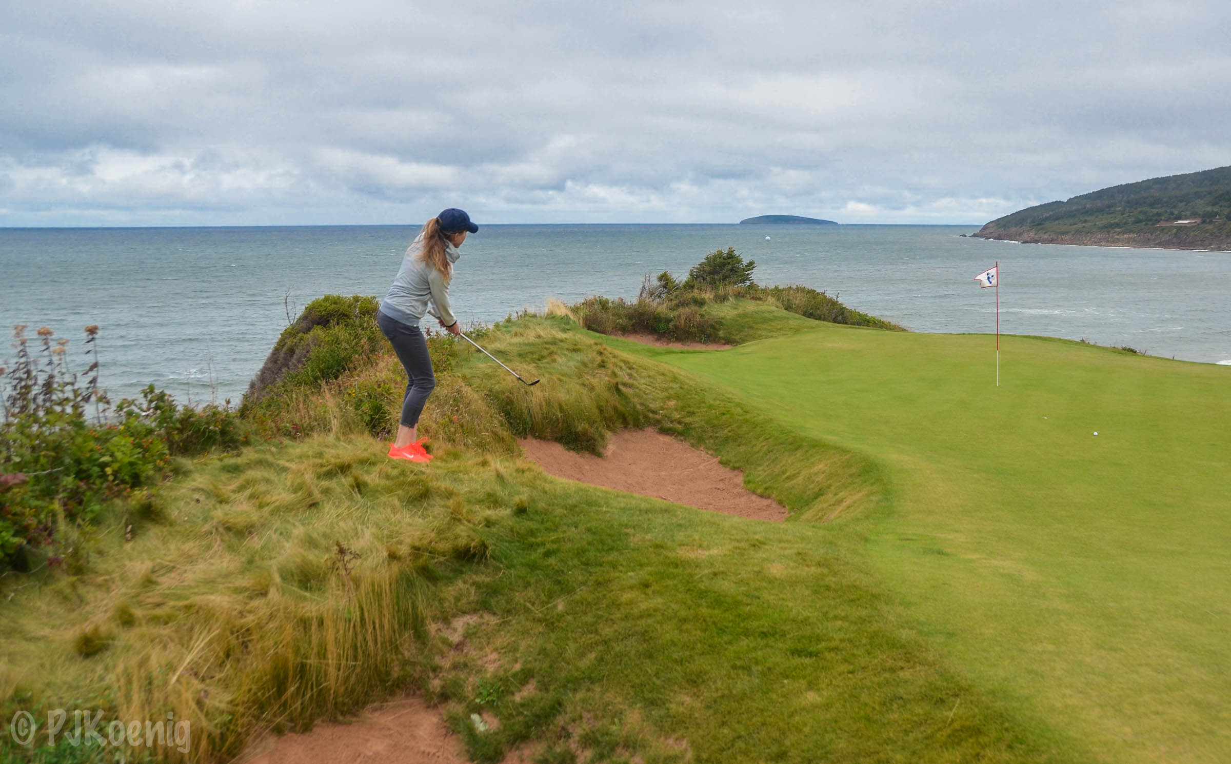 Golf Digest's    Ashley Mayo    takes on Cabot Cliffs' 16th hole.