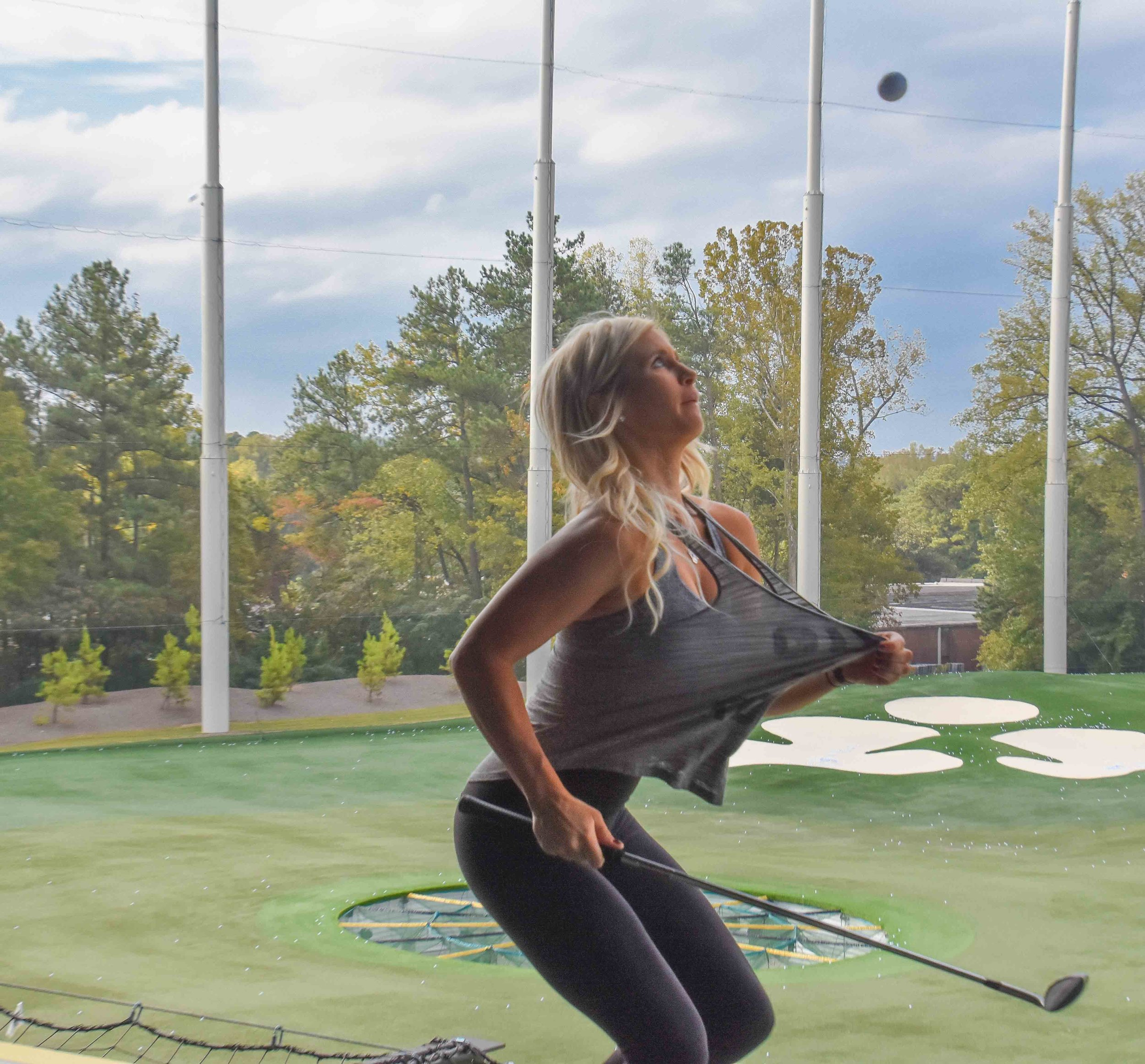 Karin and the gang would warm things up at Atlanta's Top Golf, doing whatever this is.