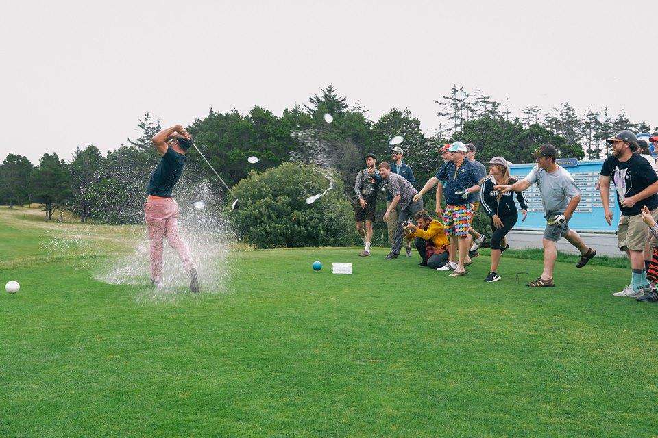 Behind the scenes action shots taken by  Andrew Herrold .  Even though I was soaked on the 1st tee, my pants dried quickly and the rest of the round was a blast.