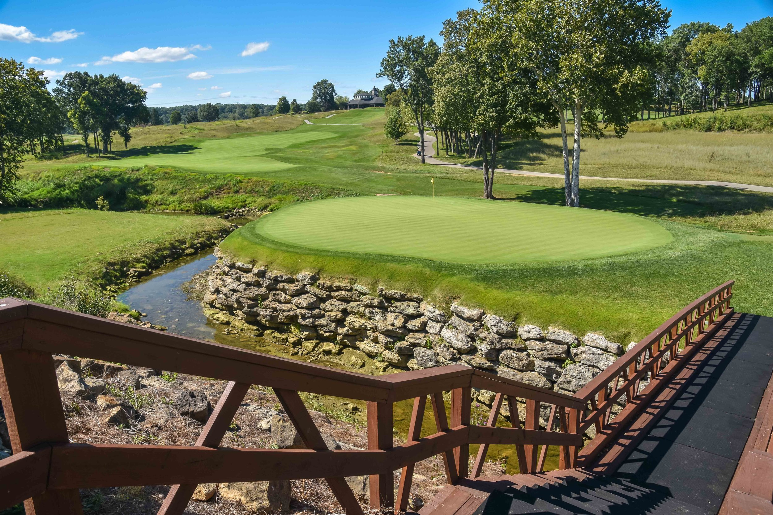 The island green 13th hole at Valhalla.