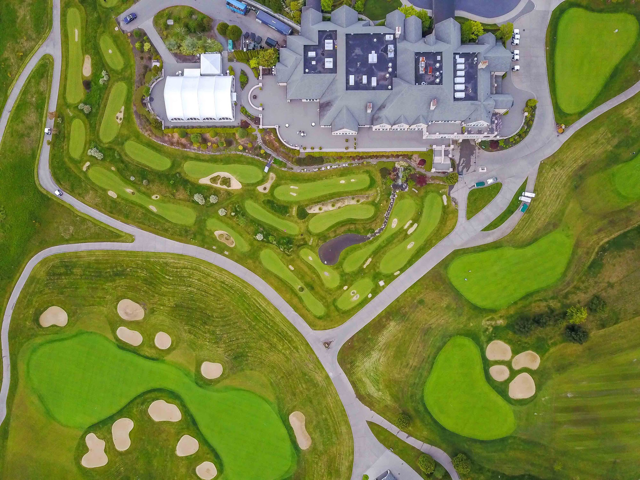 The view from above the clubhouse at Newcastle and the Rusty Putter; an 18 hole putting course.