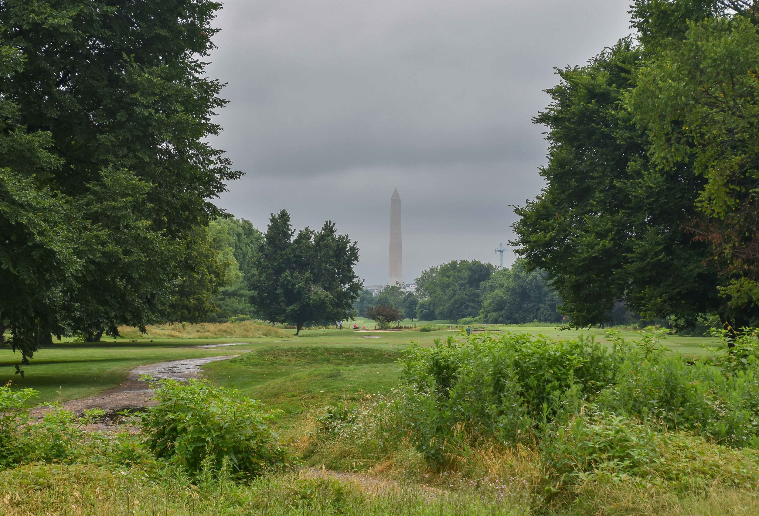 Even on a cloudy day, the view of the Washington Monument pops through at East Potomac.