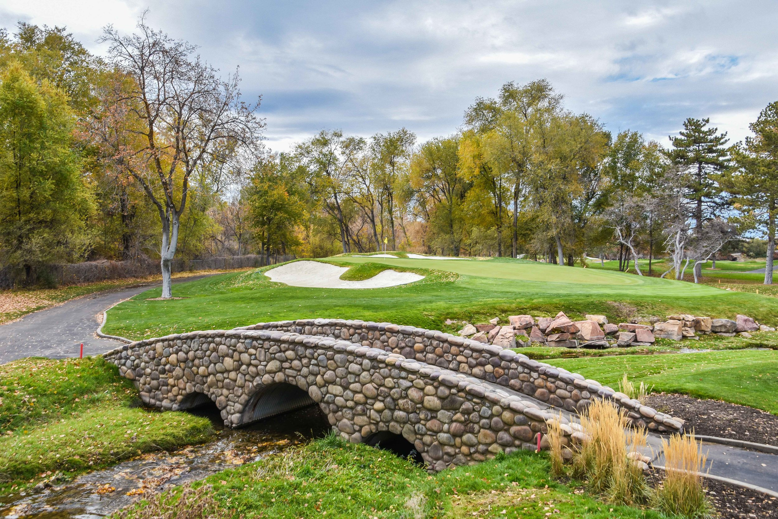 "The ""Branca Bridge"" fronts the 11th green at The Country Club of Salt Lake."
