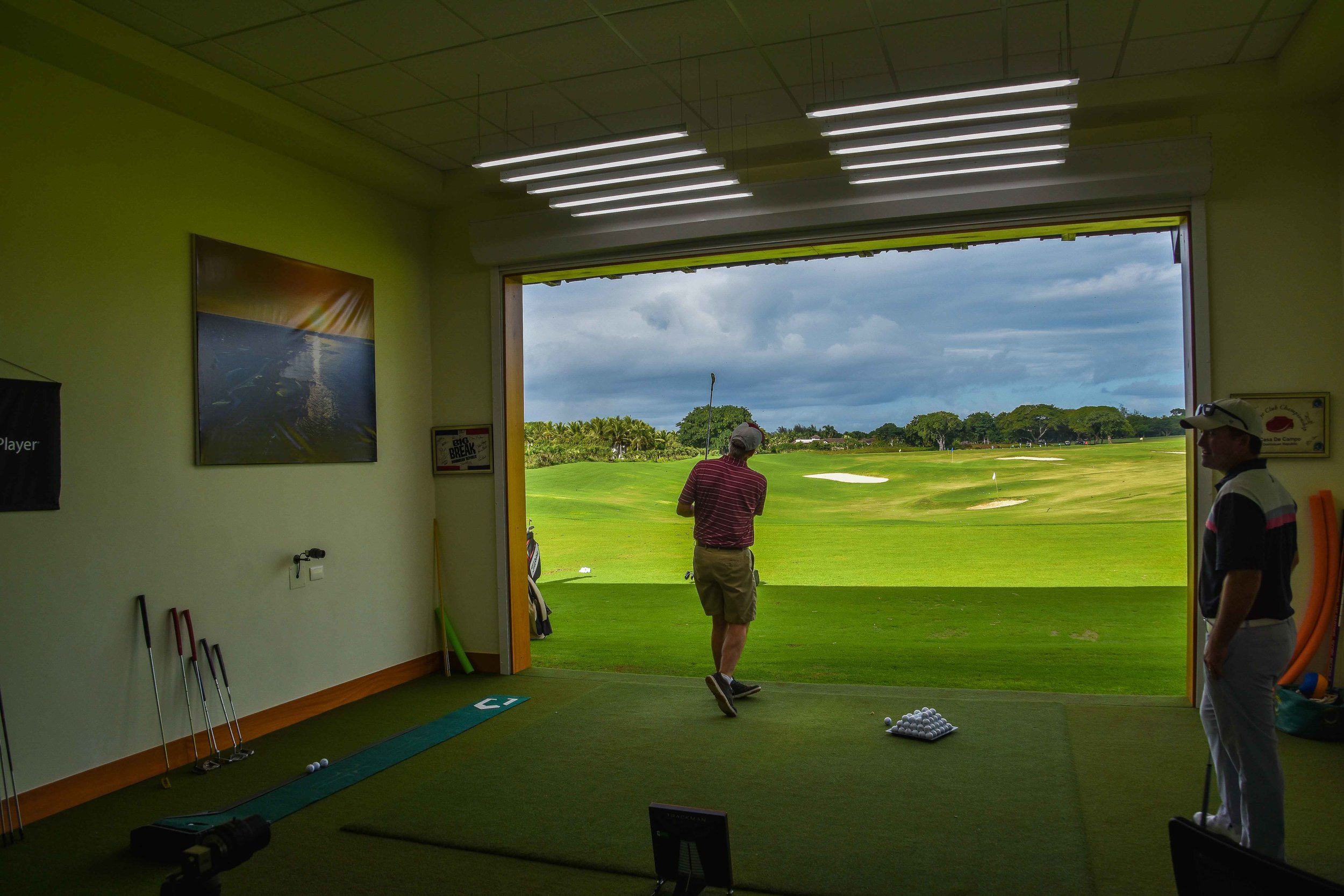 The view from inside the teaching bay. Eric is on the far right getting ready to dispense some serious golf knowledge.