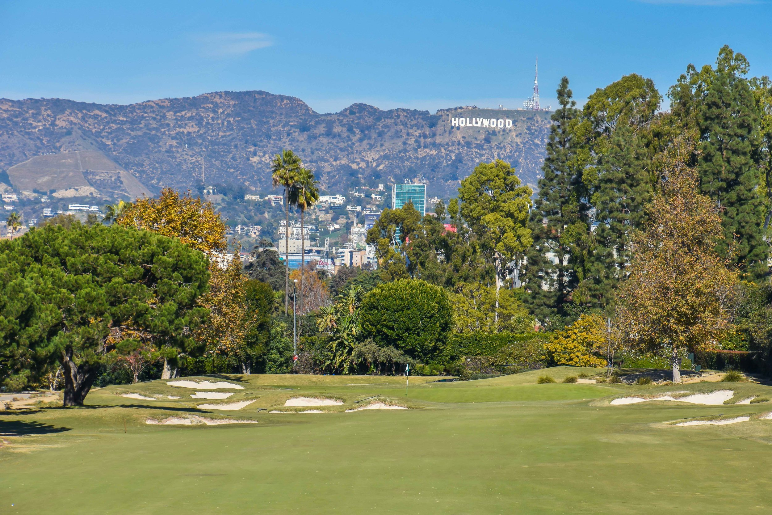The Hollywood sign is visible from Wilshire's 9th hole.