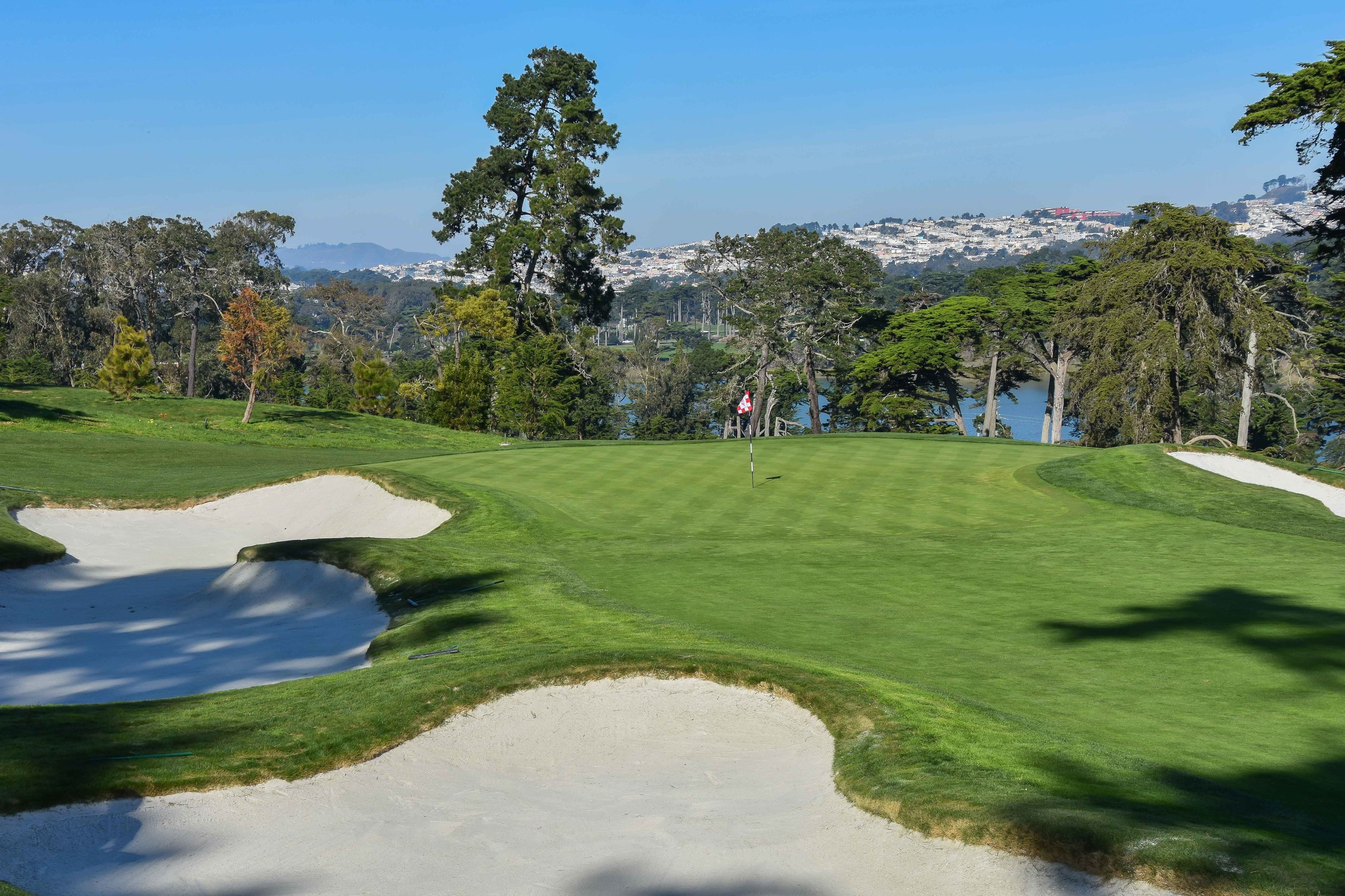 The long par 3 3rd hole at Olympic Club