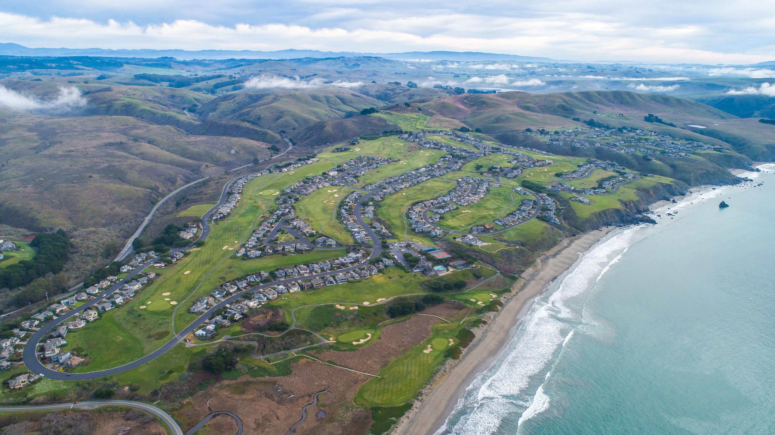 The view from above The Links at Bodega Harbor.