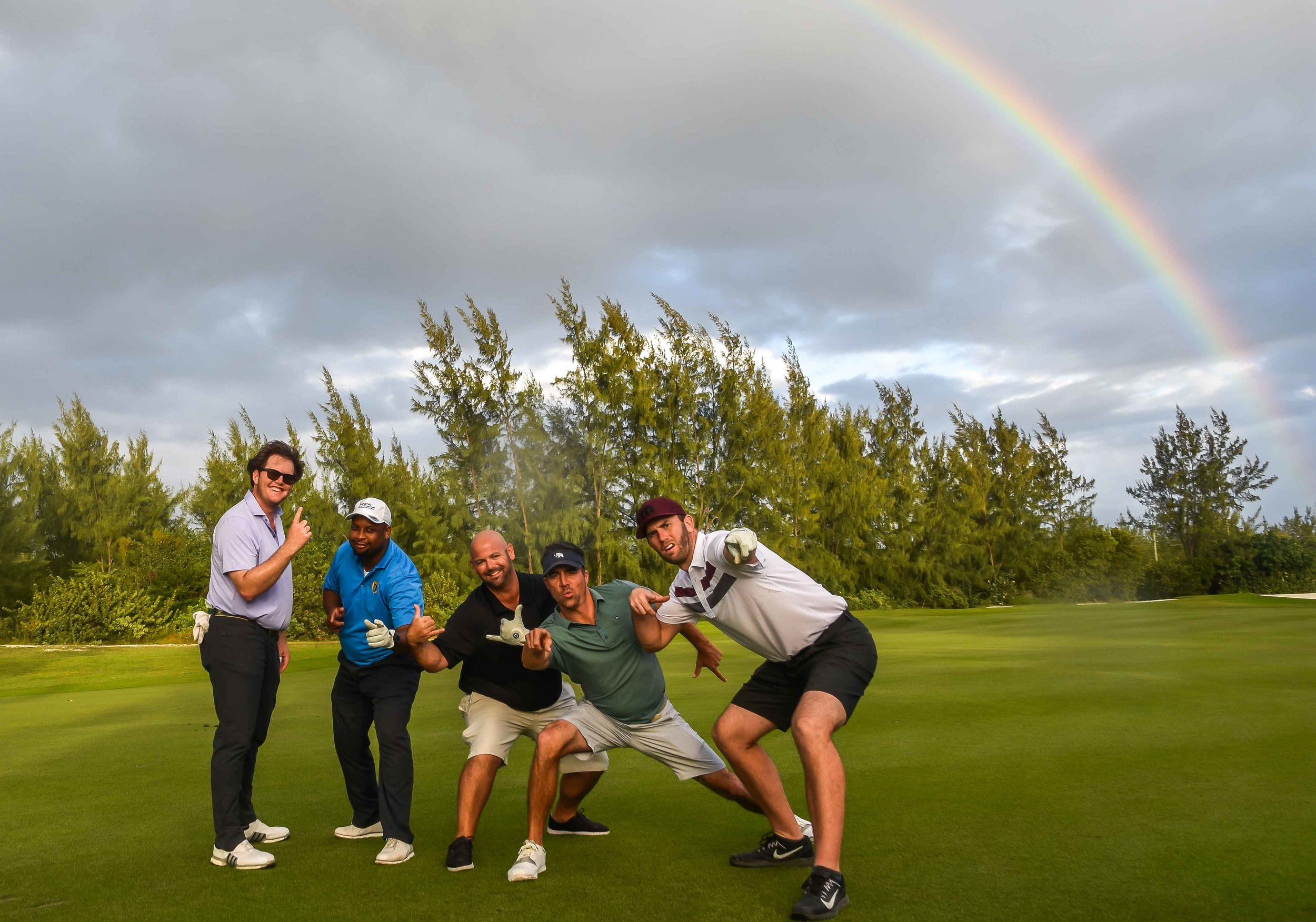 The rainbow shines down on the world's greatest Pro-Am team.