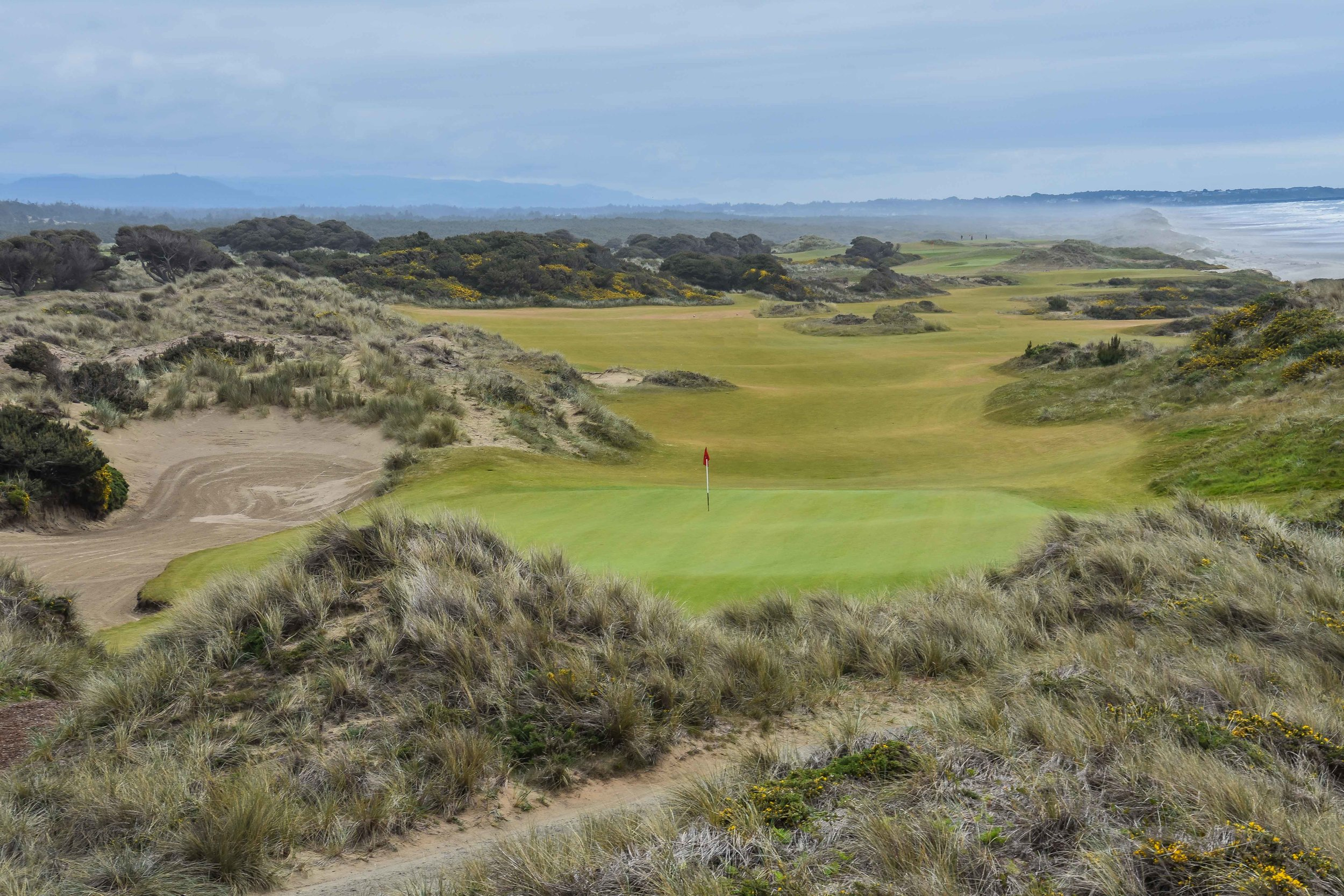 I take this picture every time that I arrive on the 6th tee box at Bandon Dunes, it's always wonderfully different looking back down the 5th fairway.