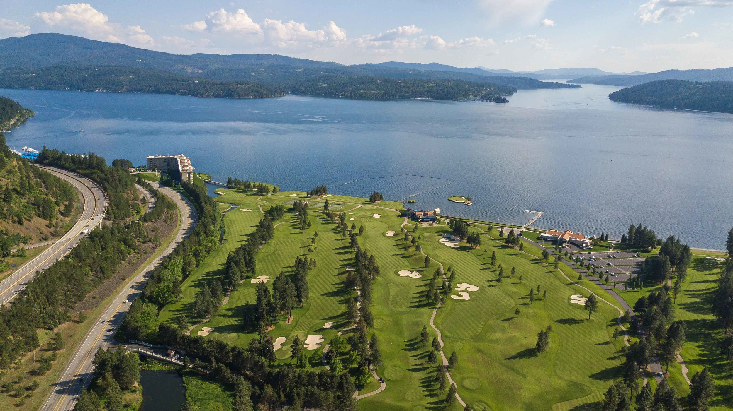 The view from above CDA Golf Resort.