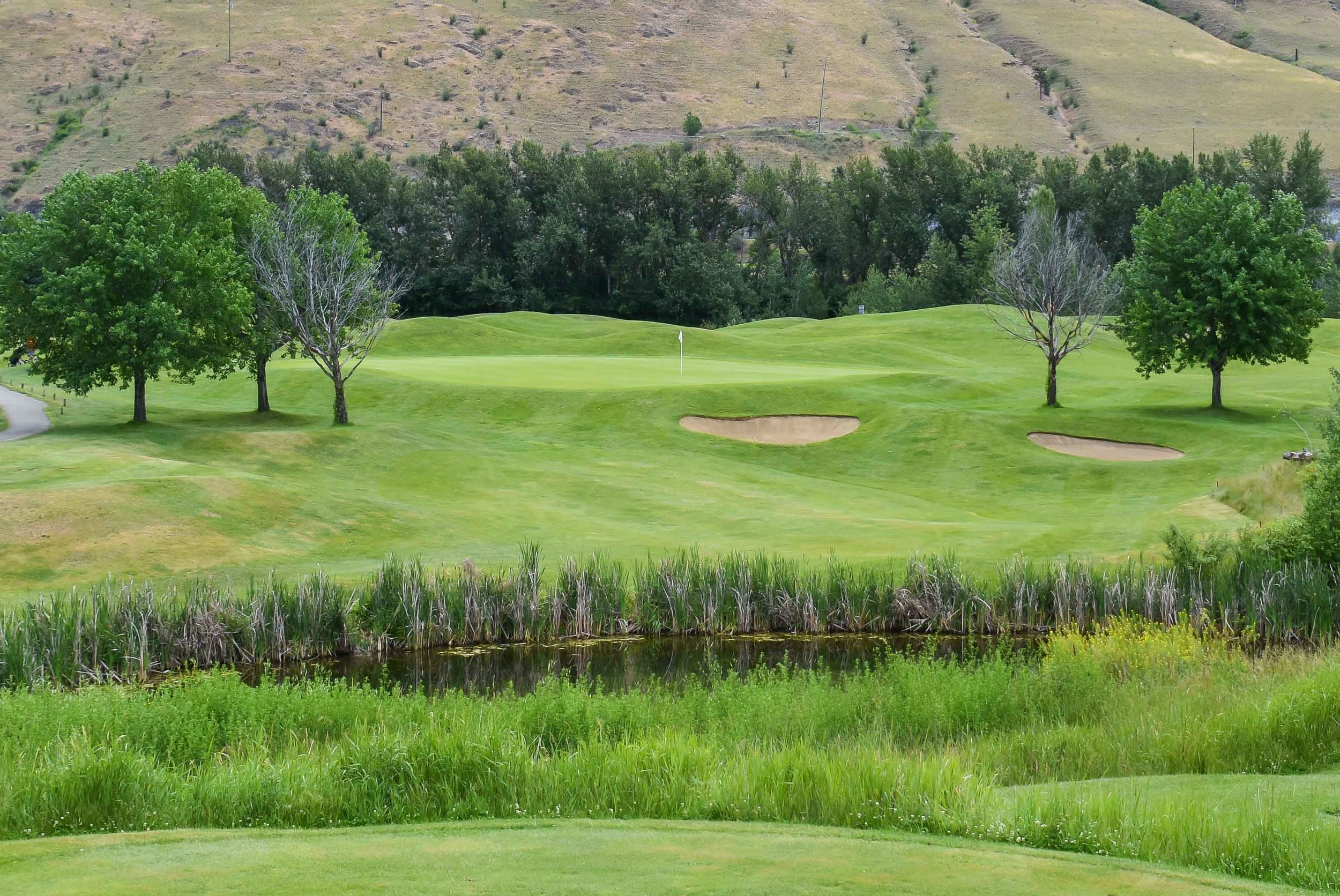 The 6th hole at The Dunes at Kamloops is a short par 3.