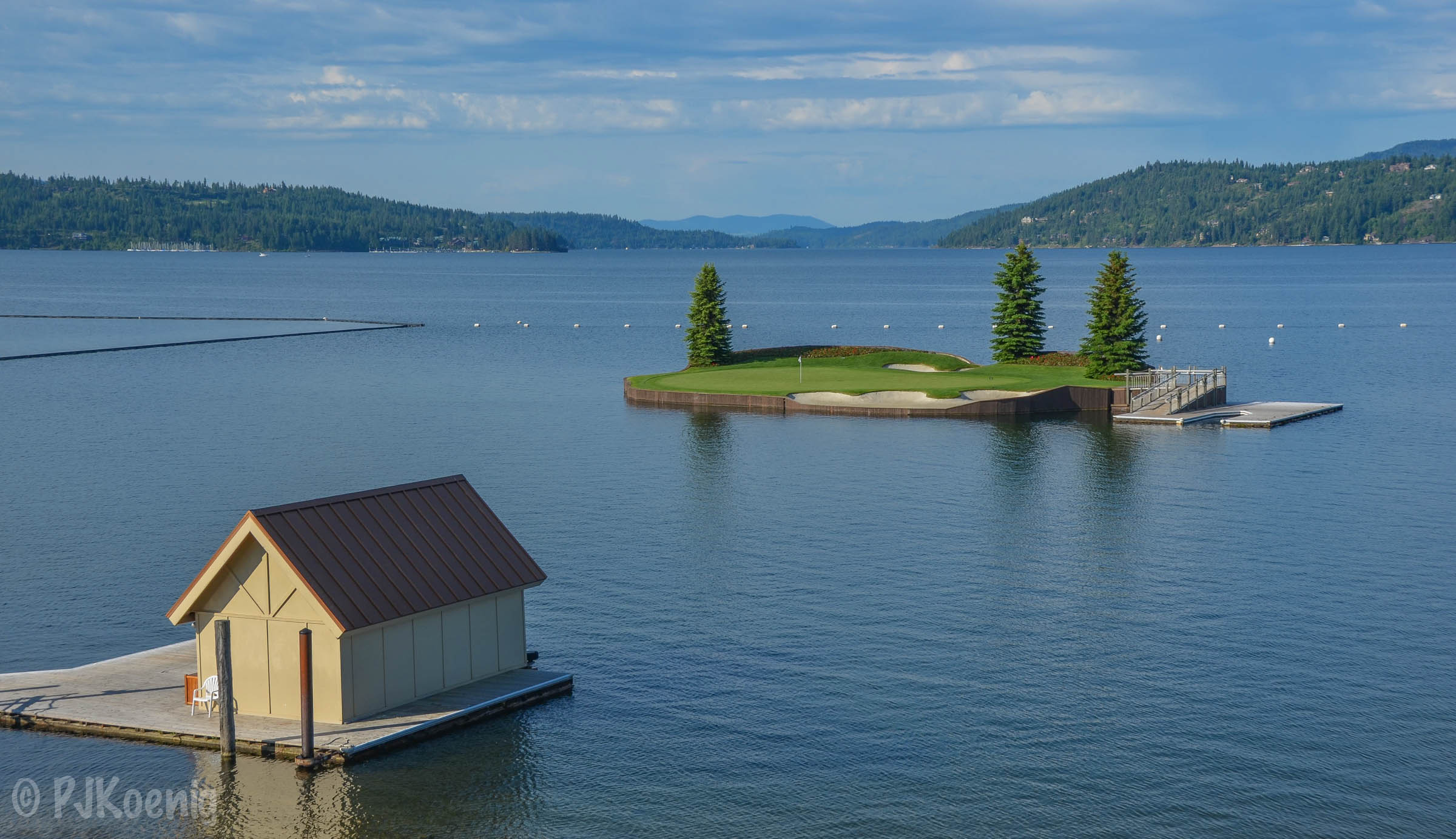 The floating 14th at the Coeur D'Alene Resort Course.