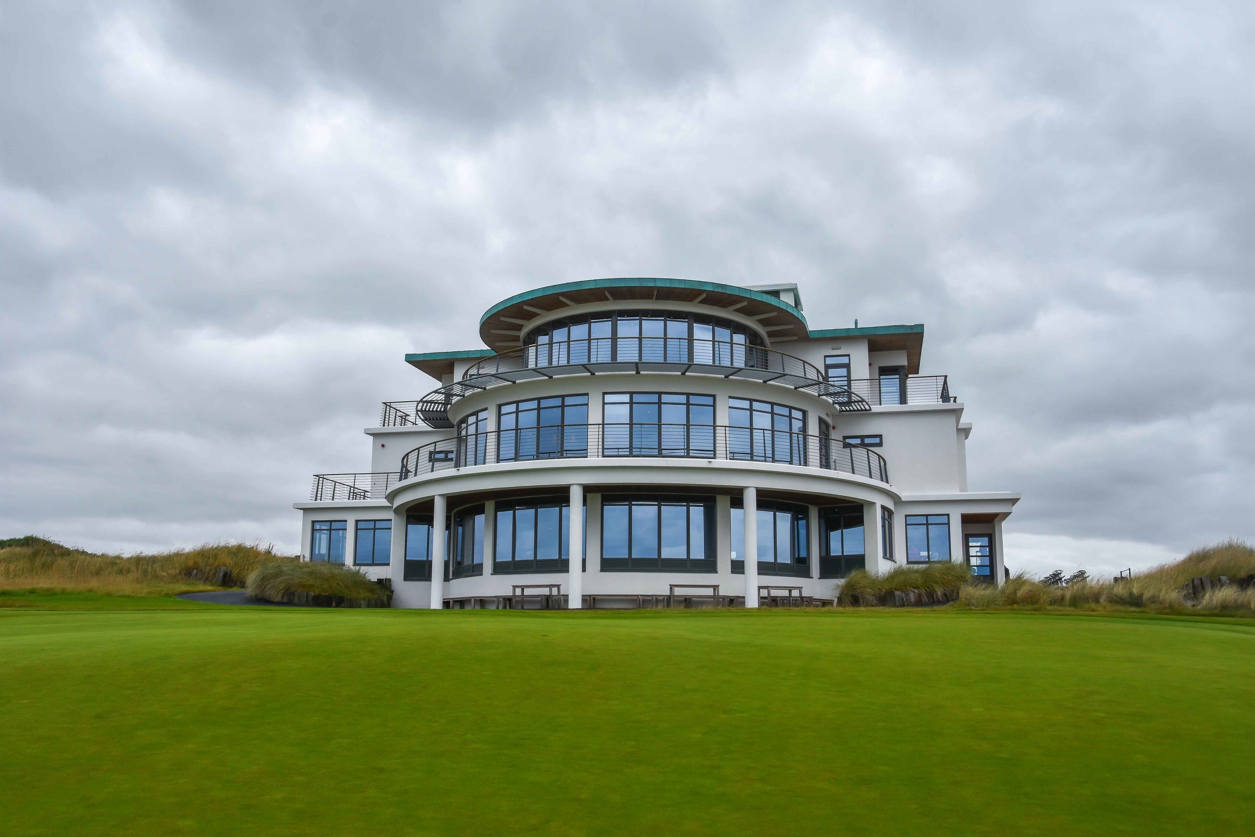 The Art Deco clubhouse at Castle Stuart
