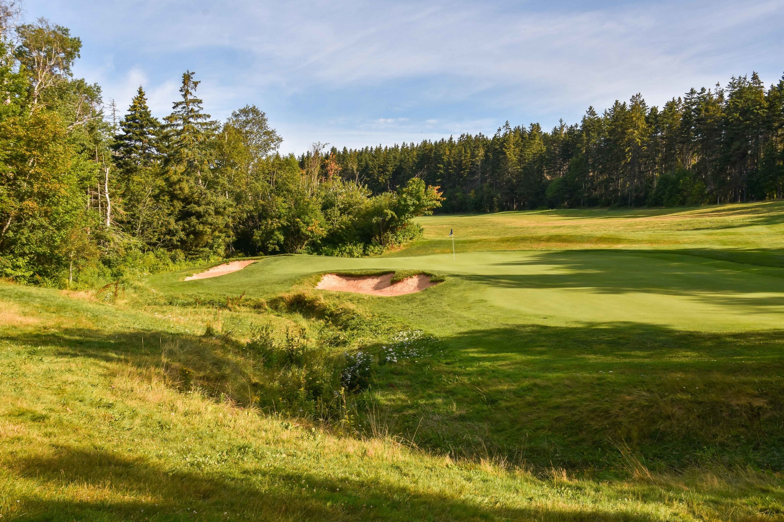 The deliciously fun 5th hole plays over a small creek.