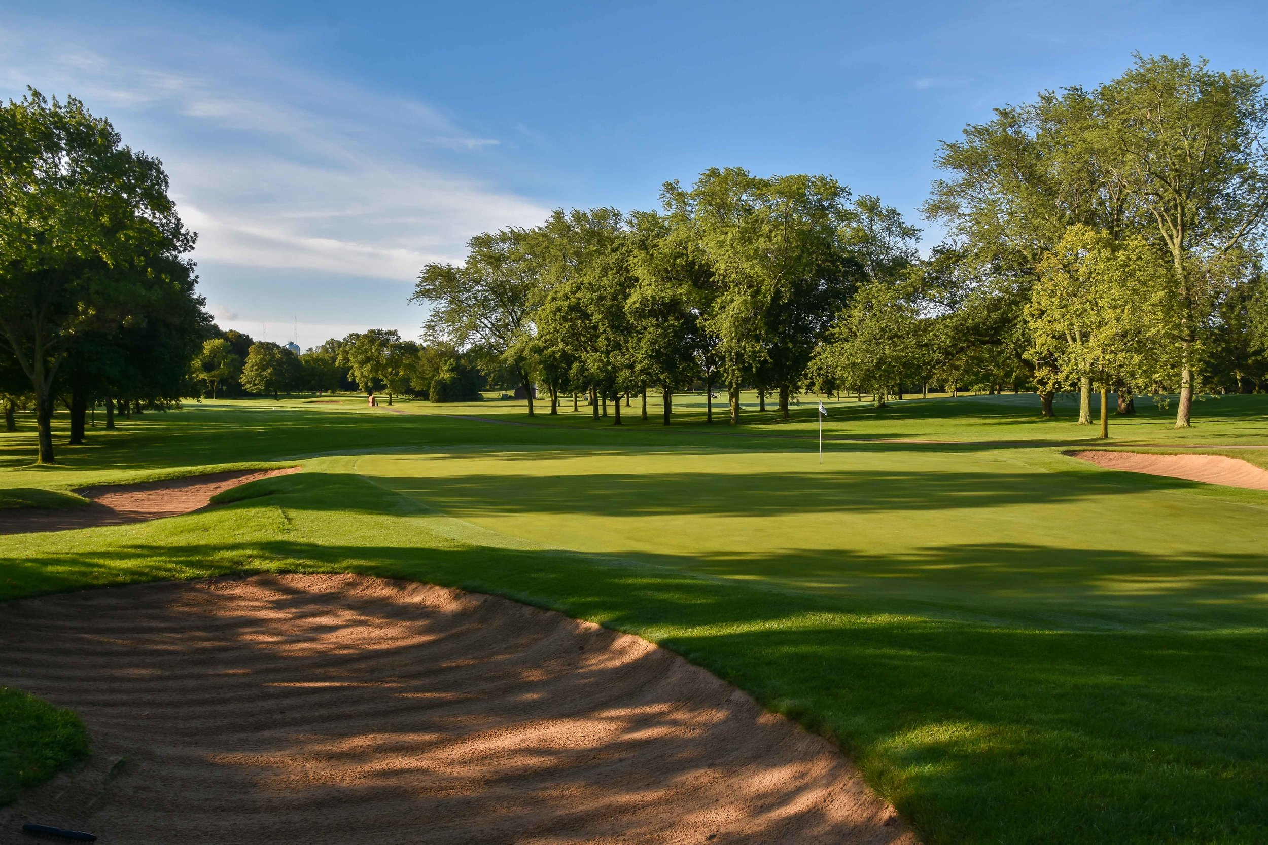 The 14th hole at Brown Deer Park is the site of Tiger Woods' first hole-in-one as a PGA Tour professional.