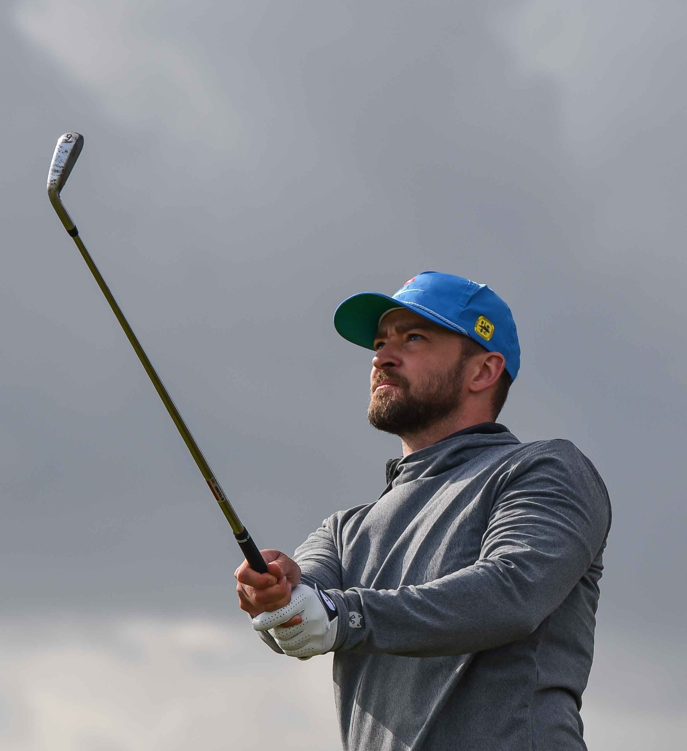 Justin Timberlake eyes his approach on the 14th at Carnoustie
