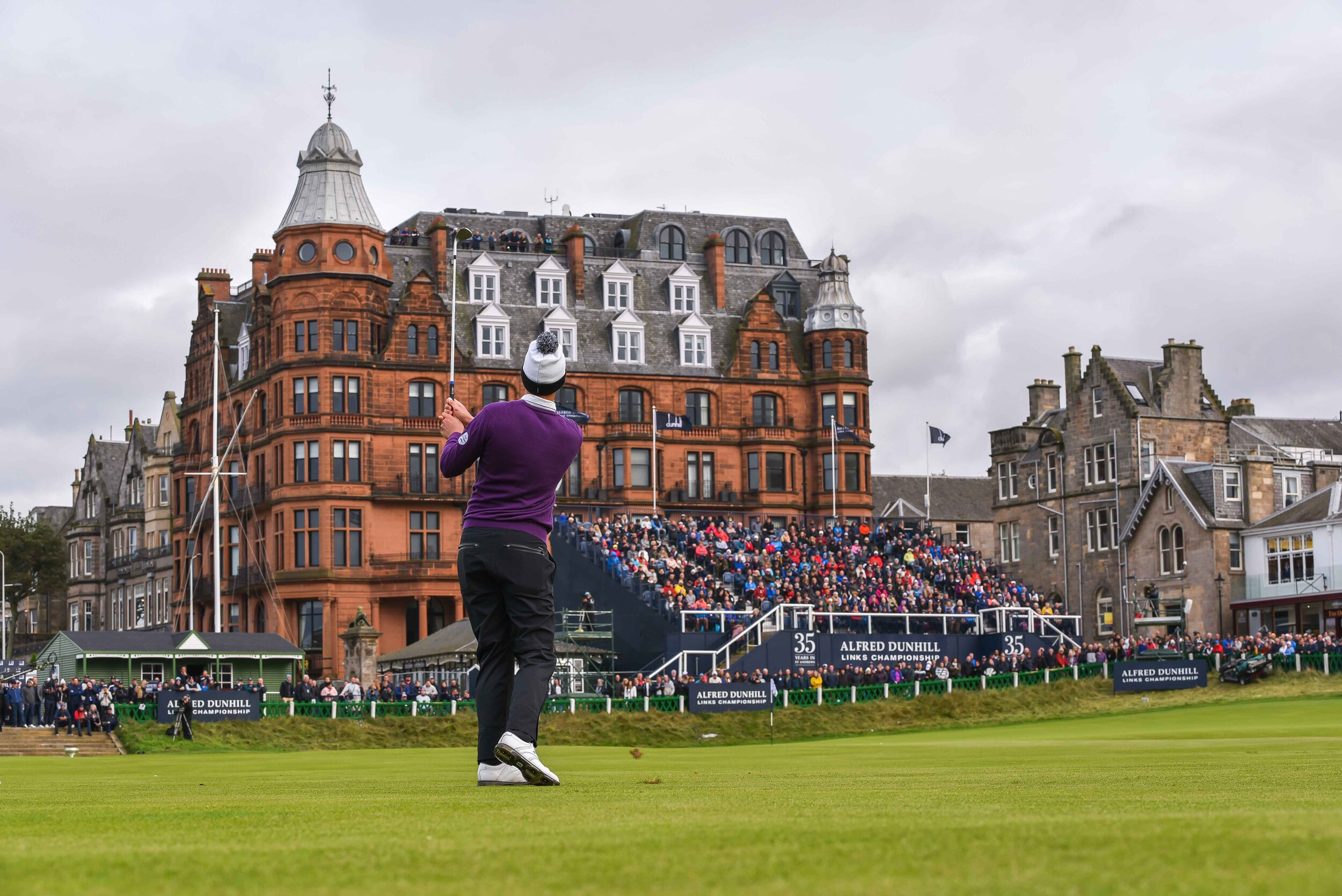 Victor Perez hits his approach into the 18th on the Old Course en route to a one shot victory.