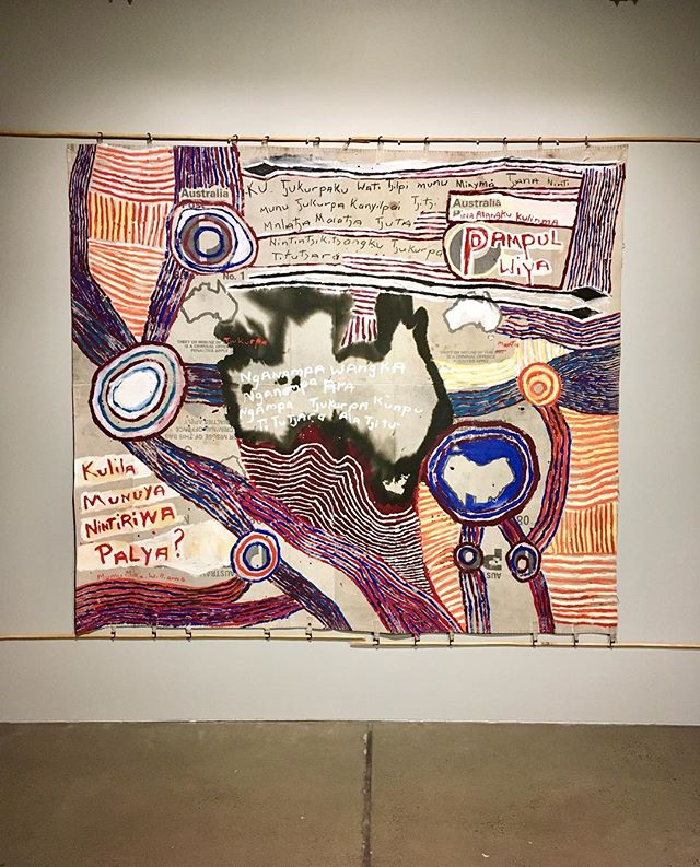 Mumu Mike Williams & Sammy Dodd, Postbag Painting 2017, in Uncertain Territory exhibition at @artbankau #mumumikewilliams #postbagpainting @mimili_maku_arts @apy_ac_collective #artbankau #apycollective
