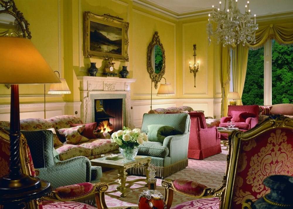 The beautiful drawing room at Inverlochy Castle