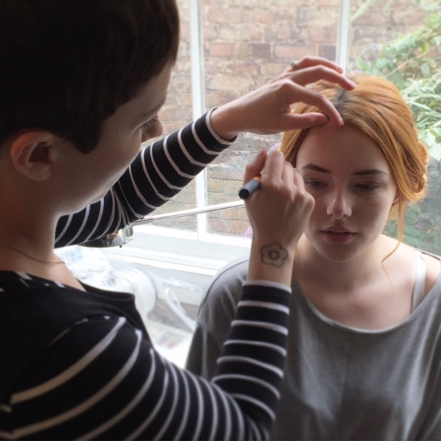 Omie starting Ashleighs' make-up