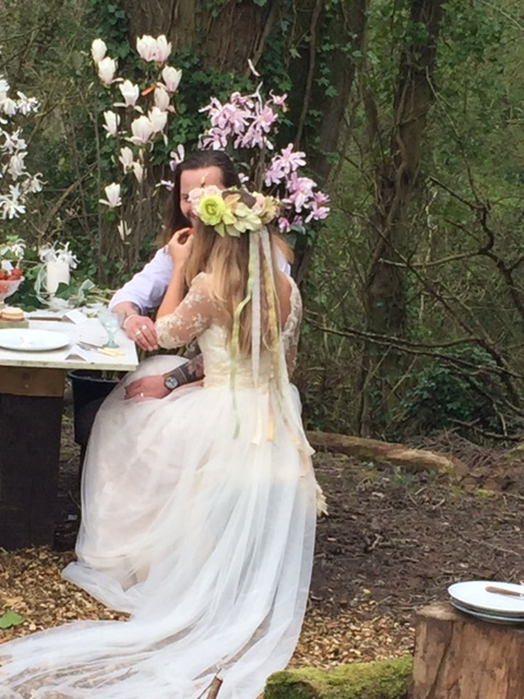 Tor looking beautiful in our bespoke gown in Champagne & Ivory silk, lace & tulle with Gilly Pages Flower Crown.