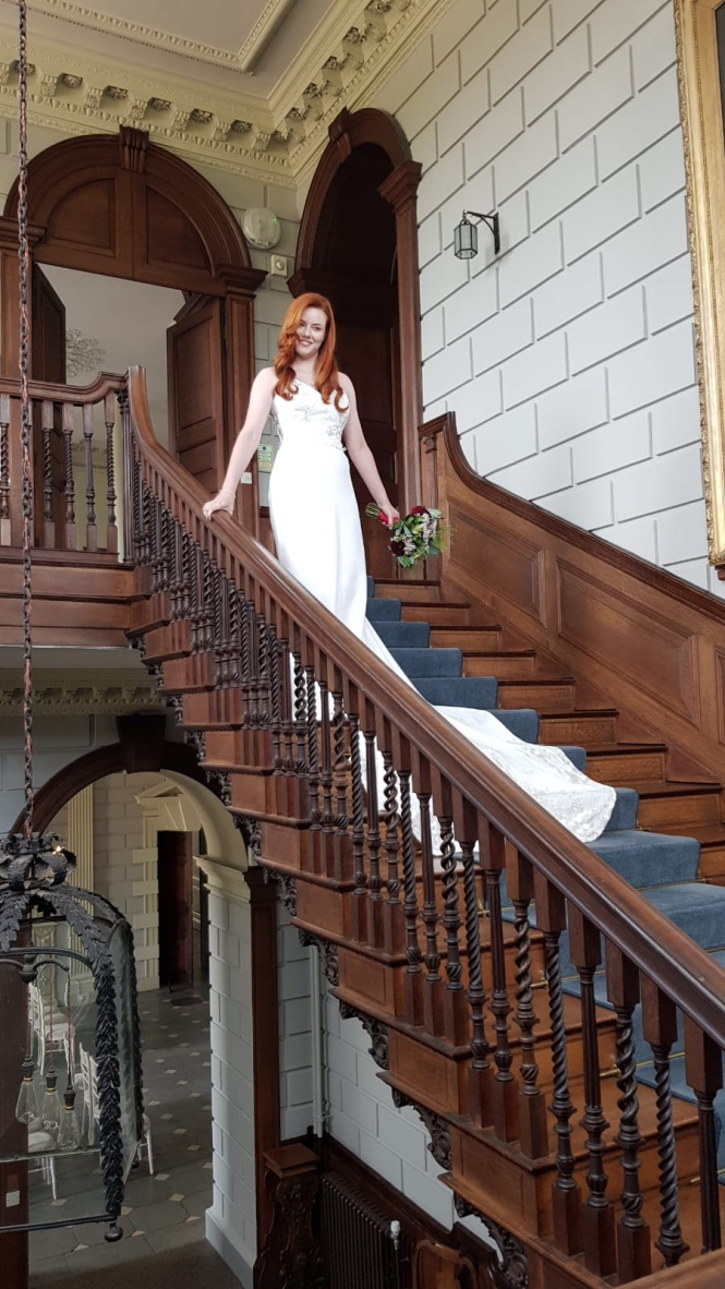 Ash takes position on the main staircase of Davenport House ready to start shooting. Ellis styled Ash's hair into a beautiful vintage wave which really shows off Ash's beautiful hair!
