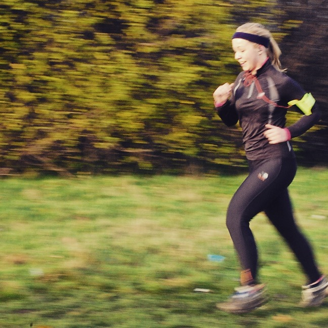 Esther at parkrun. So fast she's blurry.