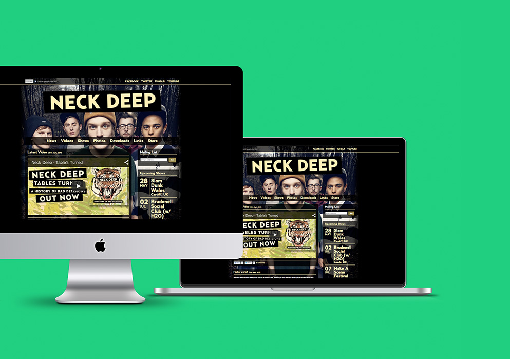 Neck Deep Website Design