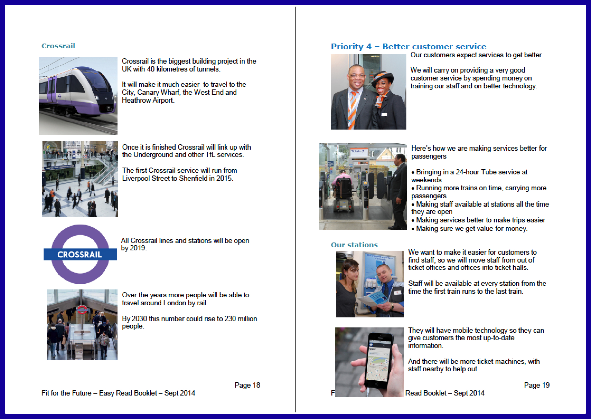 "Sample page of Easy Read version of TfL's ""Fit for the Future"".   Click here to download a sample of this document ."