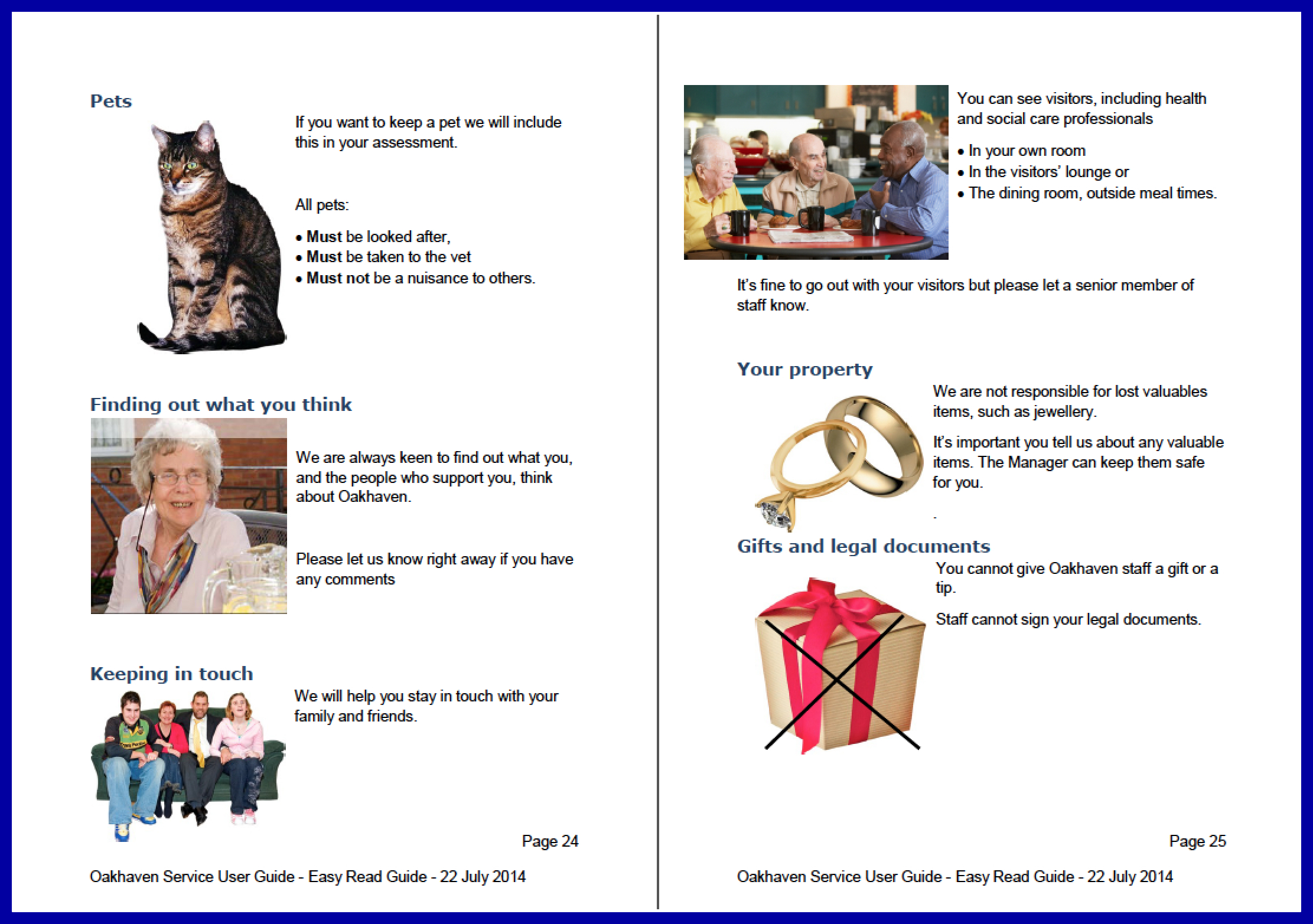 Above: A double-page spread of the Oakhaven Service User Guide   Click here to download a sample of the document