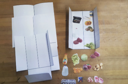 hands-on grocery organizing activity with different fridge templates