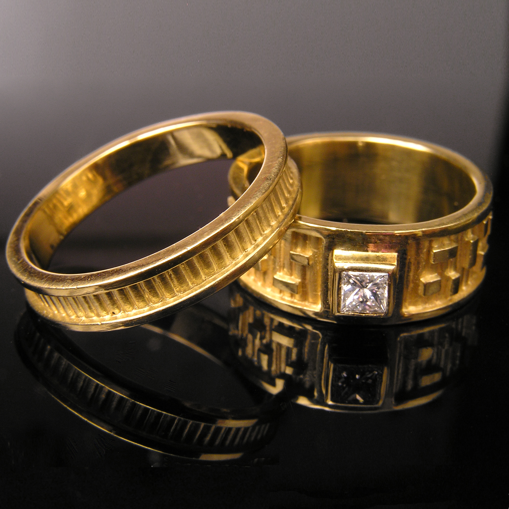 Ribbed Band & Rectangle Pattern Ring