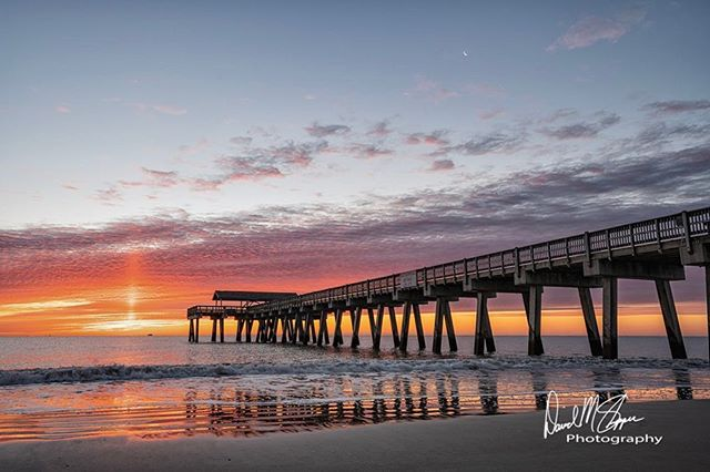 Sunrise 🌅 this morning from the pier on Tybee Island. Do you see the moon 🌙? #sun #sunrise #sony