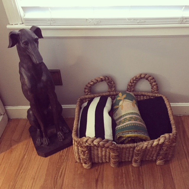 greyhound statue homegoods,  basket pottery barn , kantha celadon, stripe blanket ikea