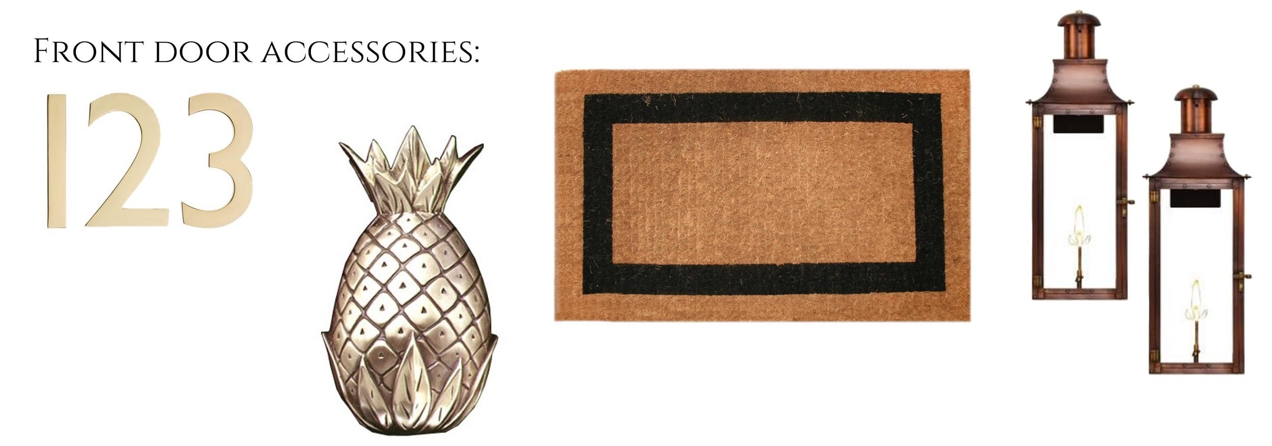 door numbers //  pineapple knocker // door mat // gas lanterns