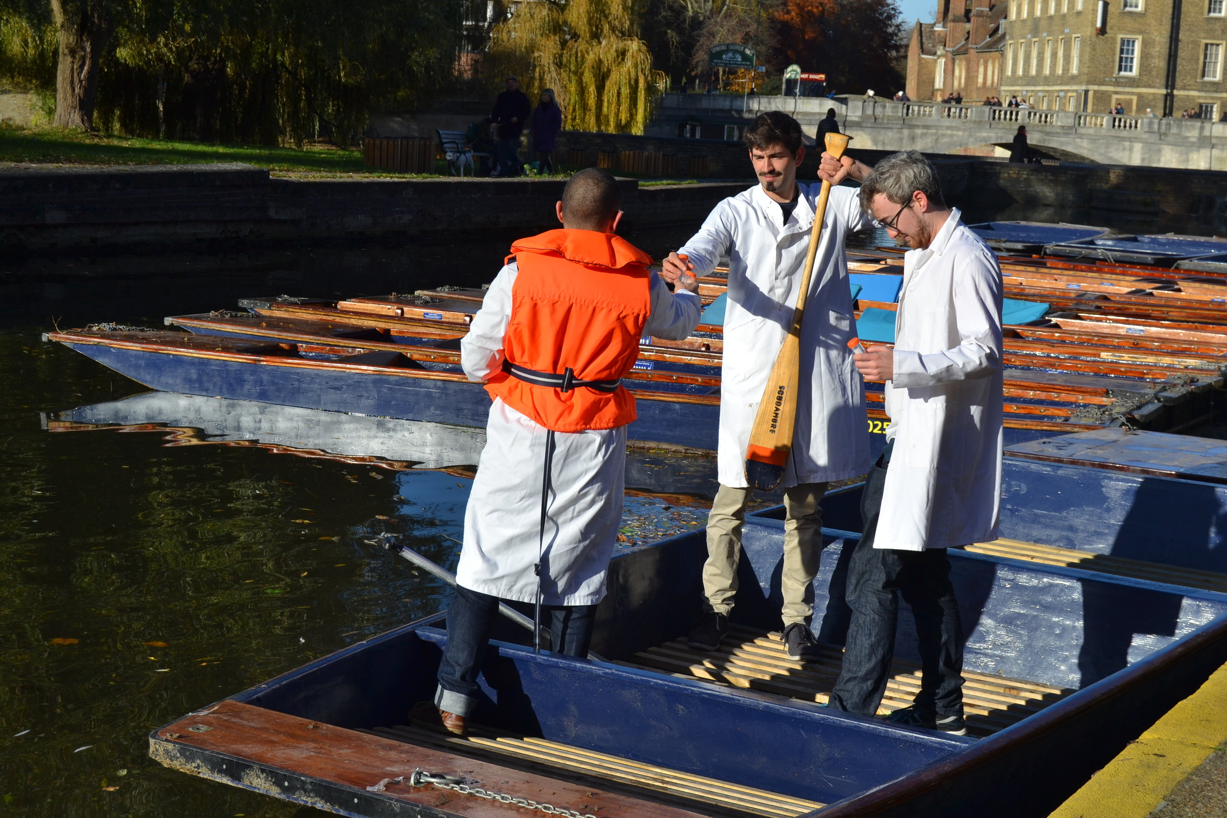 Sampling from aboard a punt on the River Cam