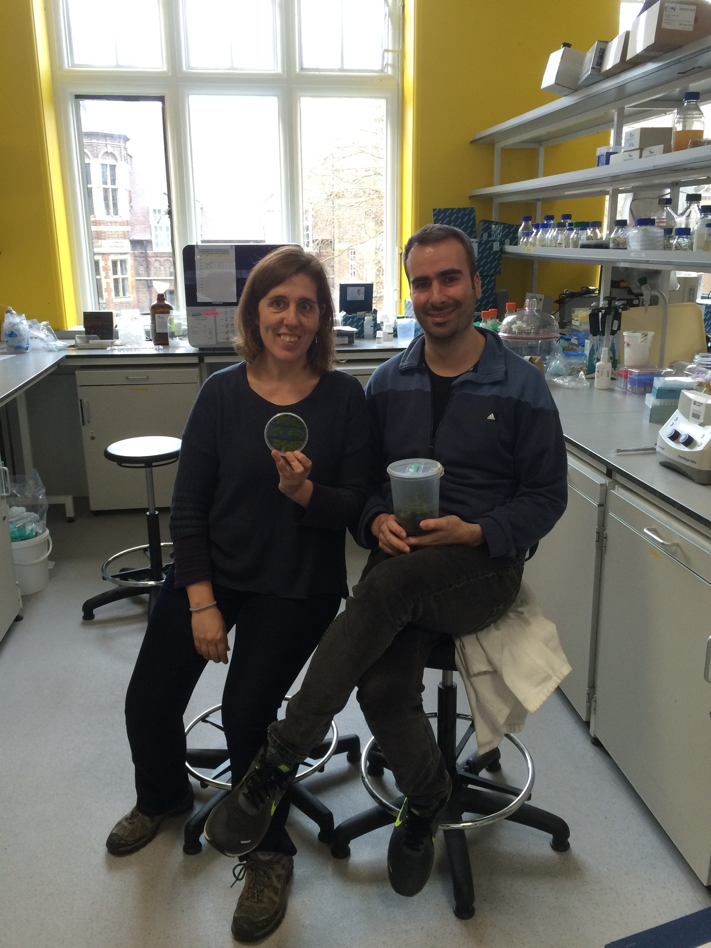 Project collaborators Dr Susana Sauret-Gueto and Dr Eftychios Frangedakis, from the University of Cambridge.
