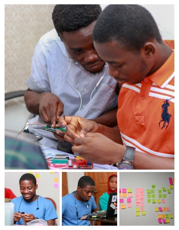 Participants tinkering with XOD and the Open Smart Rich UNO 3 microcontroller