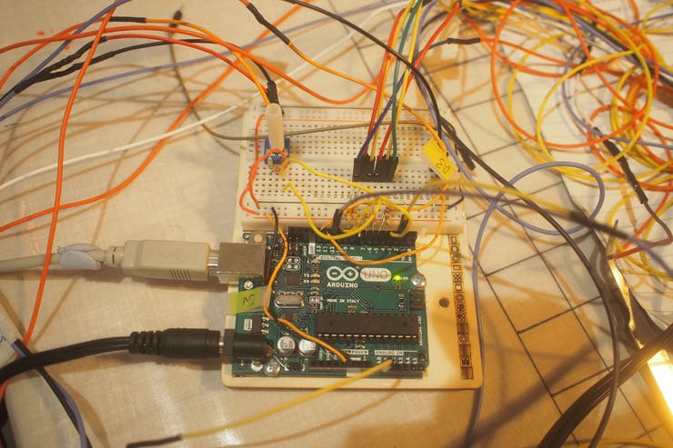 DNA Dave's current Arduino uno break out board which will be replaced by a Micro:bit board