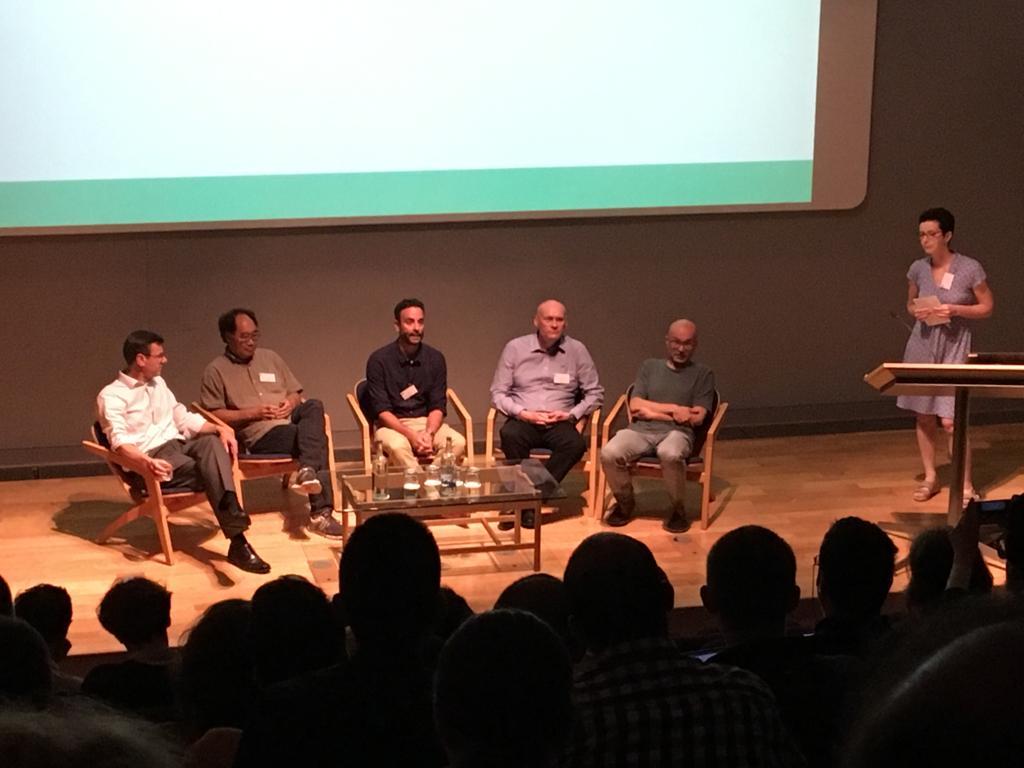 Synbio start-ups panel - From left to right: Tim Brears (Evonetix), Jim Ajioka (Colorifix), Eyal Maori (Tropic Biosciences), Rob Field (Iceni Diagnostics), and Eugenio Butelli (Persephone Bio).