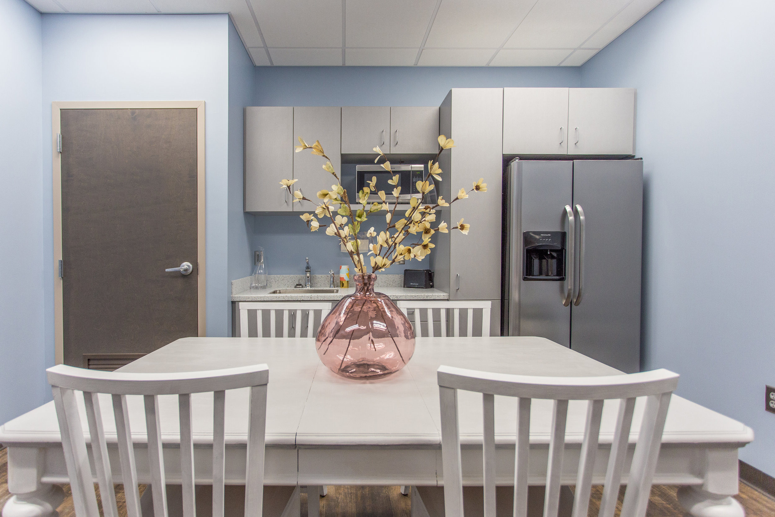 Employee break room complete with kitchen.