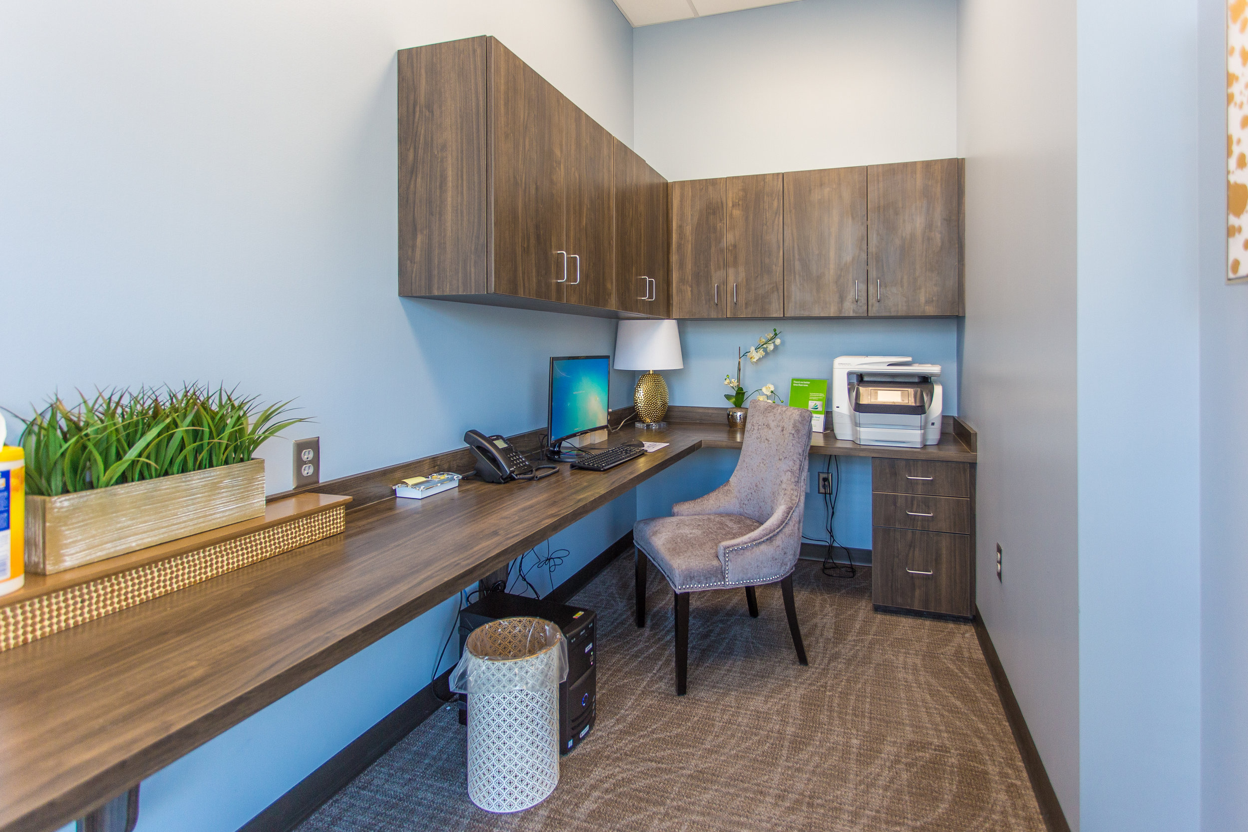 Separate office workspace for consults or employee use.