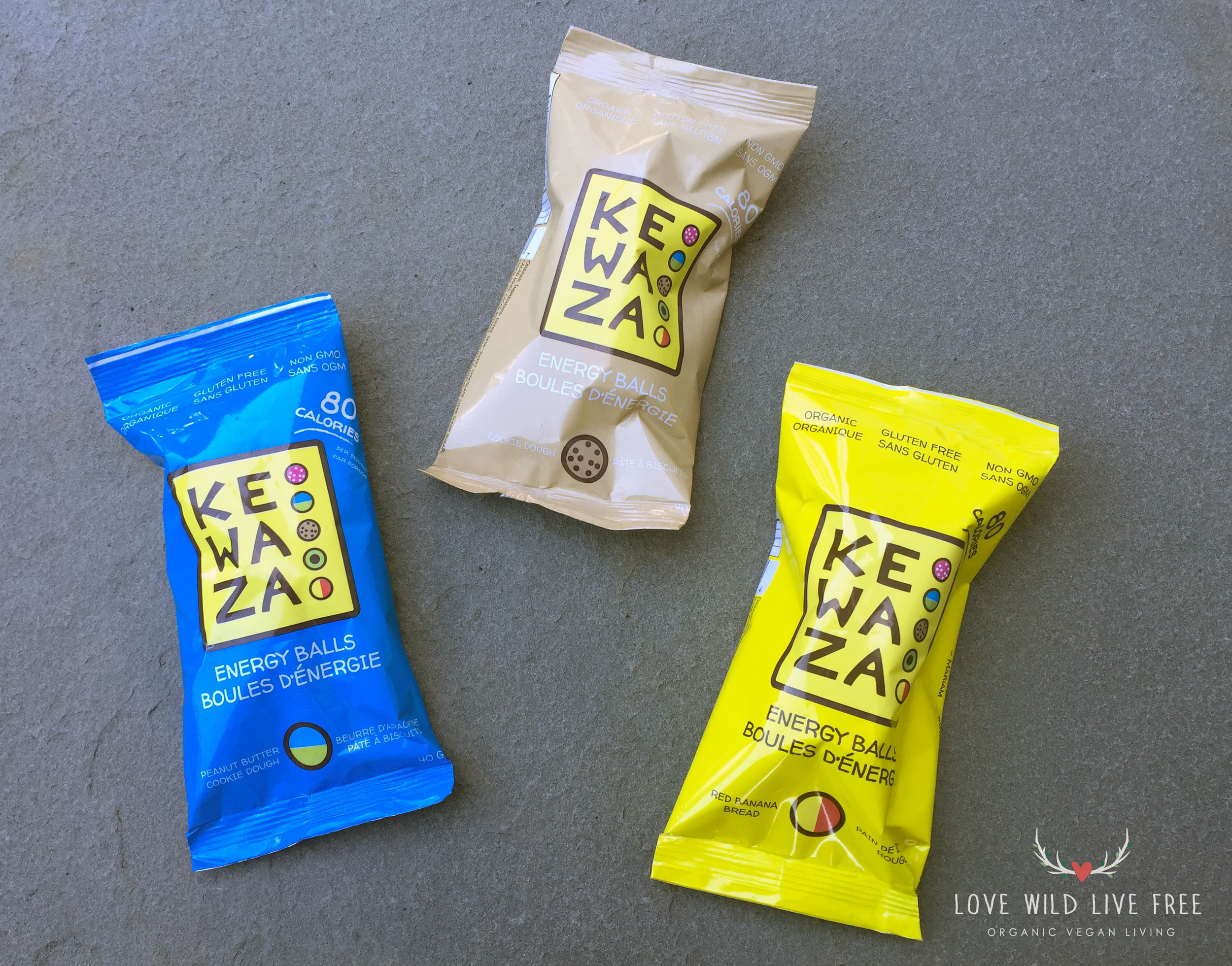 Pictured: Peanut Butter Cookie Dough,Cookie Dough and Red Banana Bread (from left to right).Scroll down for all of the details on how you can get your hands on a Kewaza prize pack including these vegan energy balls!