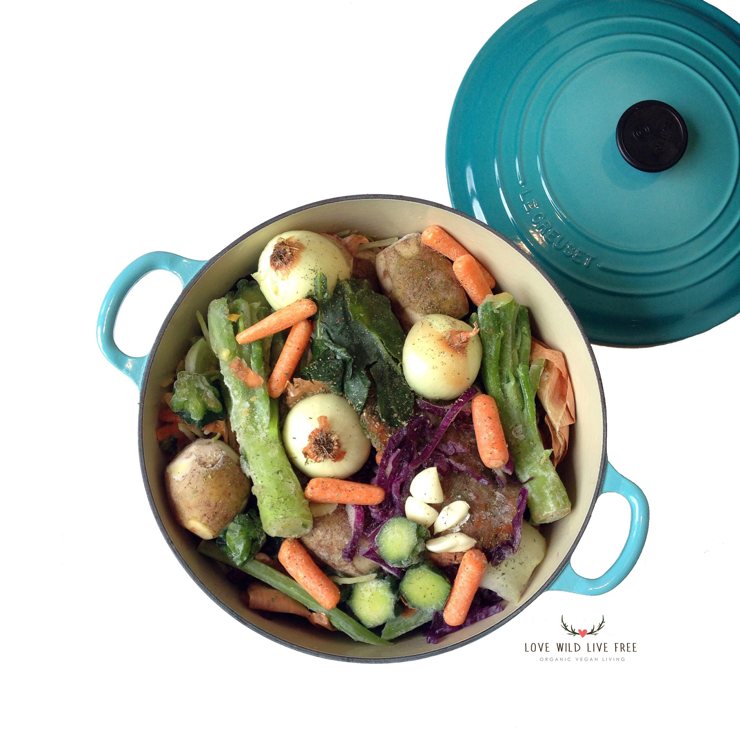 """I am all for reducing waste, especially in the kitchen and making homemade stock is an excellent opportunity to recycle & reuse!I've found that this is also an ideal way to repurpose veggie juice-pulp too! Learn how to make your own """"Everything but the Kitchen Sink Vegetable Stock"""" here !"""