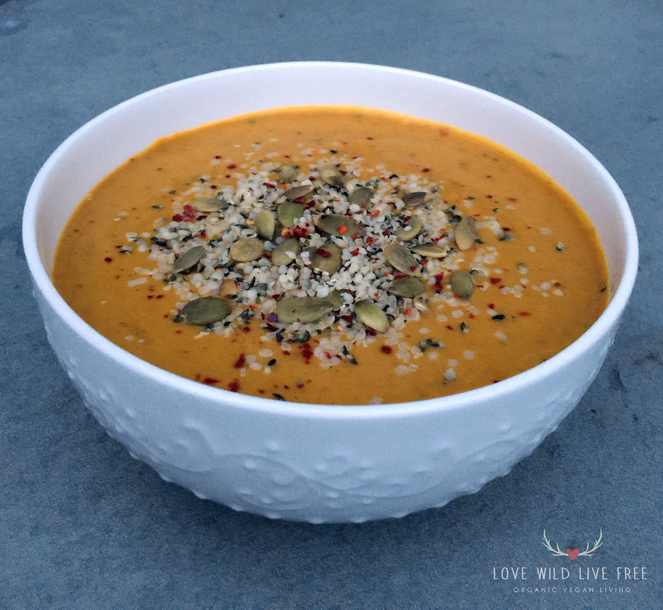 The spice blend of curry, cinnamon and red pepper flakes in this soup,  add a spicy immune boosting kick, which is perfect as the cool weather rolls in.