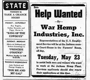 1944AD PUBLISHED IN THE JACKSON COUNTY PILOT (MINNESOTA) on MAY 18, 1944.  Image from Manitoba Harvest Hemp Foods.*