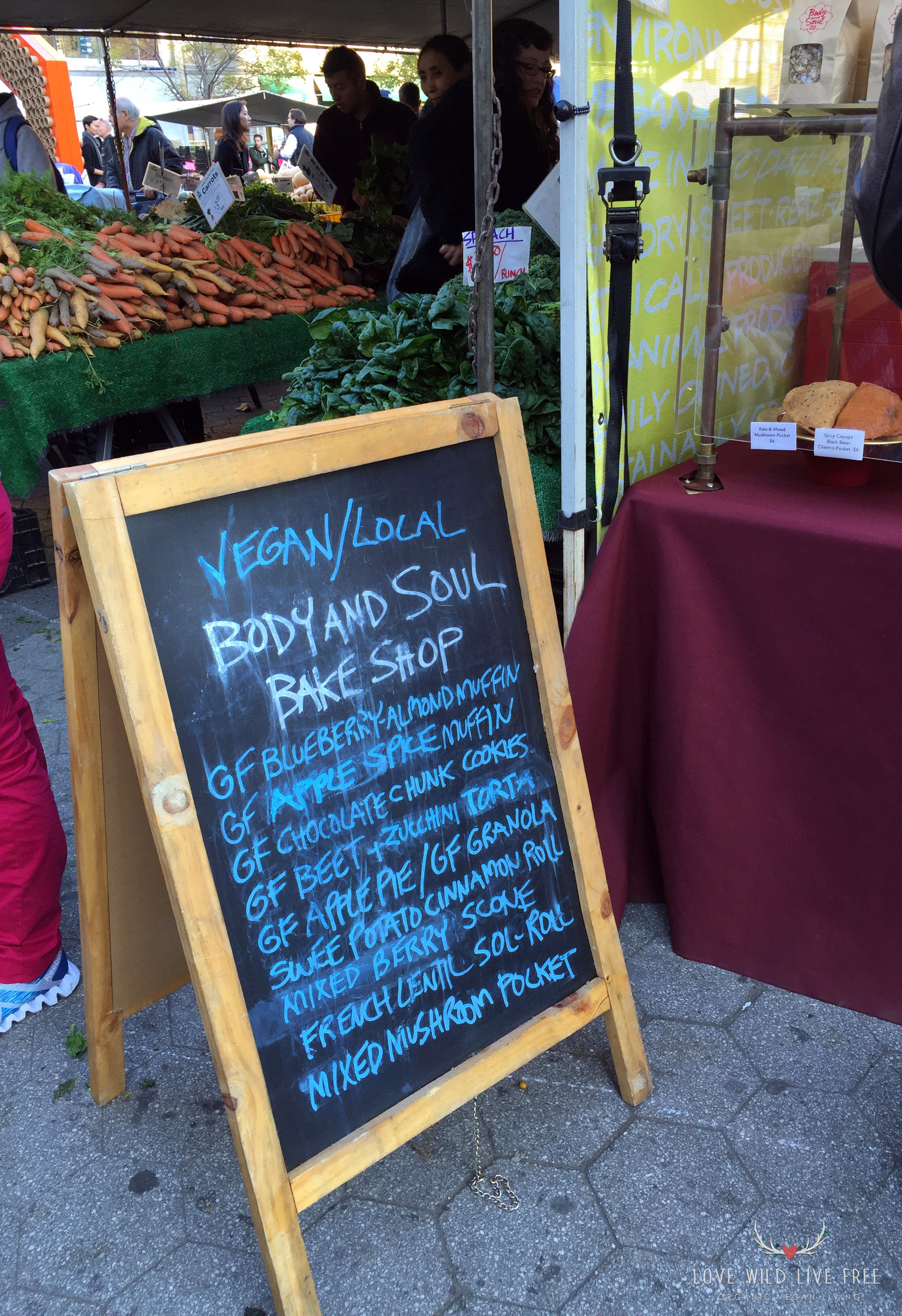 Daily offerings from Body and Soul Bake Shop   at GrowNYC's Greenmarket in Union Square.  Photo by Love Wild Live Free.