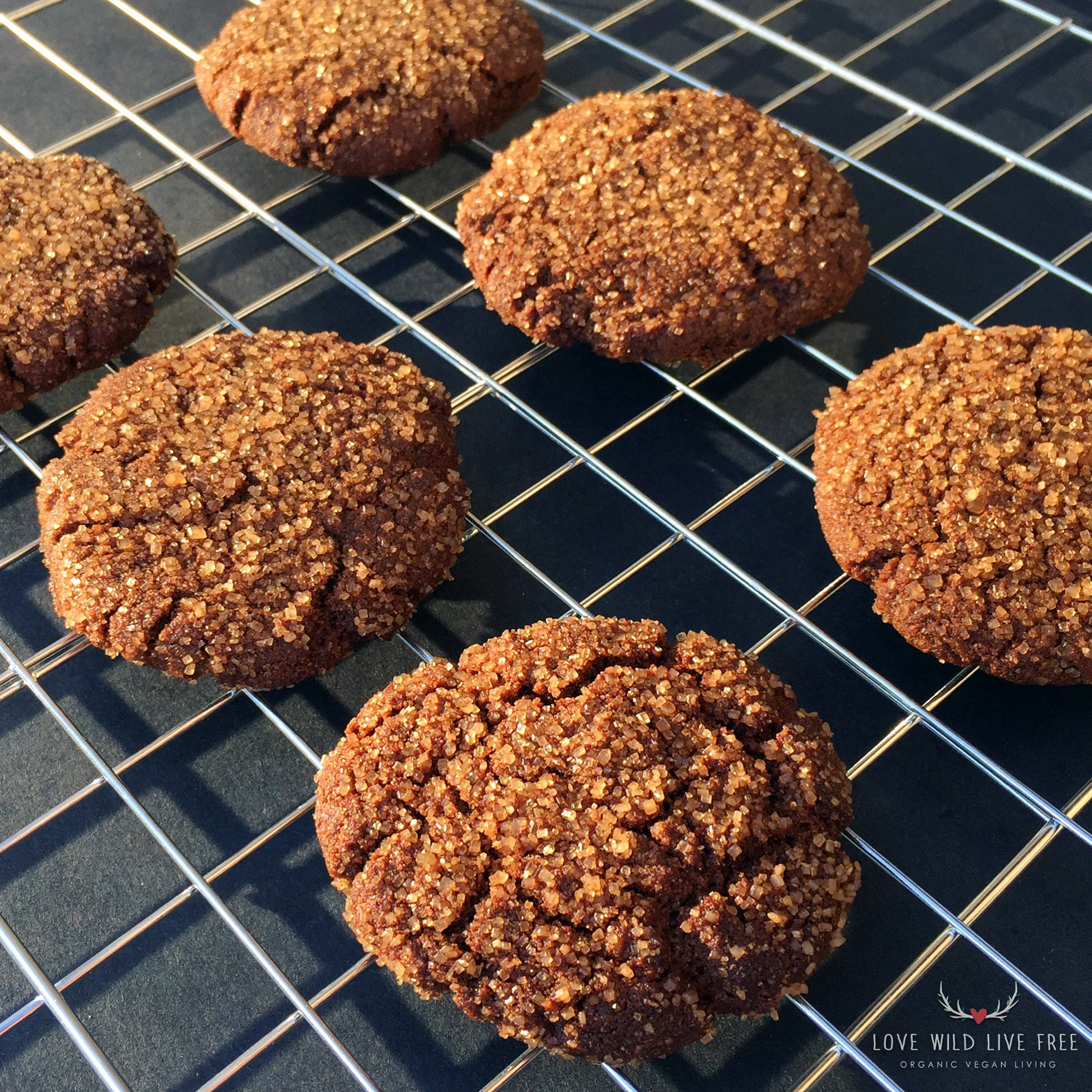 Festive Vegan Ginger Molasses Cookies - the turbinando sugar coating really makes these cookies sparkle!