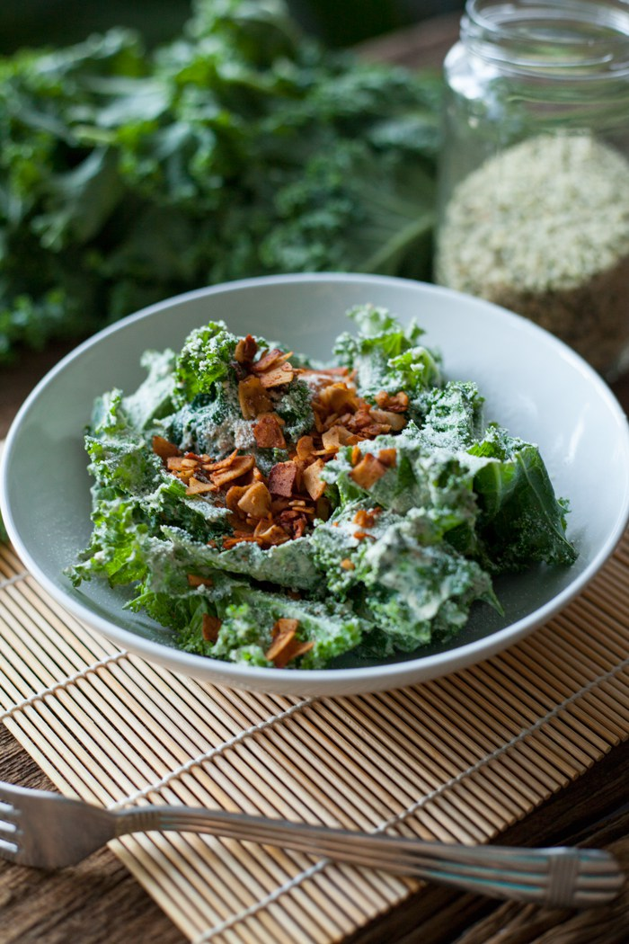 My favourite salad,hands down has always been Caesar Salad. The Edgy Veg version of this classic comfort food is complete with a creamy dairy-free dressing, coconut bacon, vegan parmesan and kale, of course!